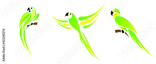 Fotografie, Obraz Collection of green parrots or parakeets vector isolated