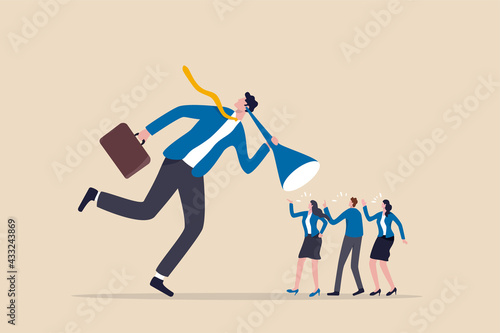 Valokuva Good listener boss, listen and accept all opinion, suggestion or customer feedback concept, smart businessman trying hard to listen to all colleagues advice
