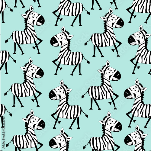 Naklejka premium Cartoon funny zebra seamless pattern. Hand drawn vector graphics. Good for Textile print, wrapping and wall paper, and other gift design.