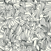 Trendy Seamless Pattern Molecule. Freehand Stripes Vector Structure. Grid Tangled Lines. Monochrome Endless Background.