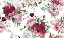 Seamless Floral Pattern With Peonies On Summer Background, Watercolor Illustration. Template Design For Textiles, Interior, Clothes, Wallpaper