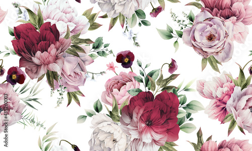 Fotografie, Obraz Seamless floral pattern with peonies on summer background, watercolor illustration