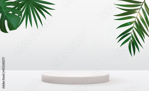 Realistic 3d pedestal over sunny background with palm leaf. Trendy empty podium display for ads cosmetic product presentation, fashion magazine. Vector illustration