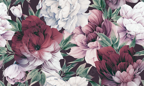 Foto Seamless floral pattern with peonies on summer background, watercolor illustration
