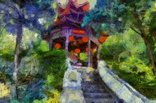 Wat Phra That Doi Suthep Temple Tourists Walking Up And Down Stairs In Tourism Illustrations Creates An Impressionist Style Of Painting.