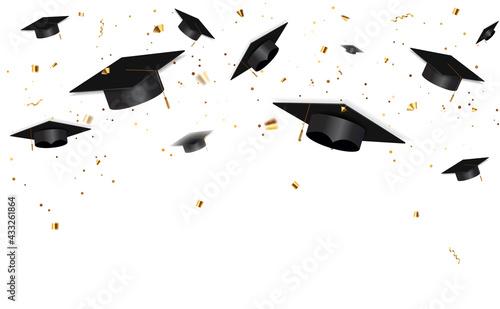 Fototapeta Education Concept Background. Graduation caps and confetti. vector illustration obraz