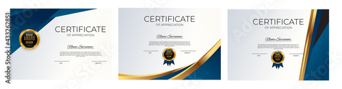 Photo Certificate of achievement template set Background collection set