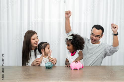 Canvas family savings, budget planning, children's pocket money, Asian family and Adopt