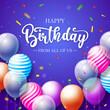 Leinwandbild Motiv Happy Birthday Greeting Card With Balloons Confetti