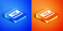 Isometric Taximeter Device Icon Isolated On Blue And Orange Background. Measurement Appliance For Passenger Fare In Taxi Car. Square Button. Vector
