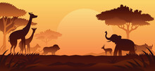 African Safari Animals Silhouette Background Sunset Sunrise