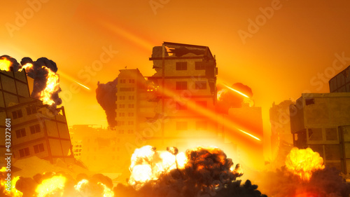 Israeli air raid on the Gaza Strip, Palestine. Gaza city. Combat aircraft bombing sensitive targets within the Gaza Strip. Explosions caused by missiles of buildings and homes. 3d render - fototapety na wymiar
