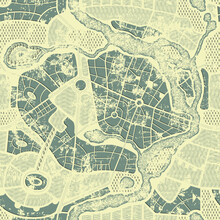 Seamless Pattern In Form Of An Old Abstract City Map In Grunge Style. Residential Districts With Parks And River On Vintage Beige Backdrop. Vector Monochrome Background With Roads Map And Streets Plan