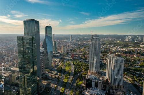 Fototapeta Istanbul business district aerial view obraz