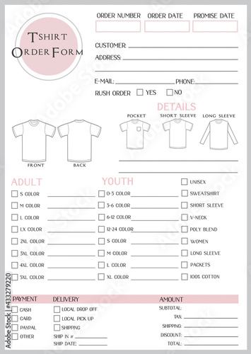 T-shirt Order  Form - fototapety na wymiar