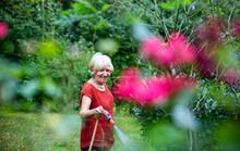 Senior Woman Watering Her Garden With Garden Hose