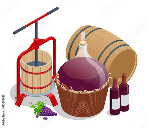 Obraz Isometric Wine production, crushing and pressing grapes, aging and bottling concept. Grape harvest Winepress with red must and helical screw - fototapety do salonu