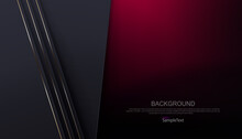 Abstract Composition With A Gradient Of Dark Red Color, Gray Slanting Curtains With A Gold Hue Border