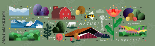 Fototapeta Nature and landscape. Vector illustration of trees, forest, mountains, flowers, plants, houses, fields, farms and villages. Picture for background, card or cover obraz