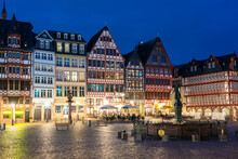 Night View Of Fountain Of Justice, Sculpture Of Justitia In Roemerberg And Half Timbered Houses, Frankfurt, Germany
