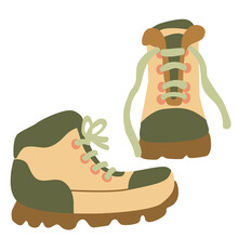 Hand Drawn Flat Vector Illustration Of Hiking Boots Isolated On White Background.  Camping And Tourism Footwear.