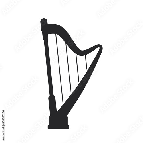 Canvastavla Black filled harp. Musical strings instrument web icon