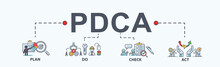PDCA Banner Web Icon For Business And Organization, Plan, Do, Check And Act. Minimal Flat Cartoon Vector Infographic.