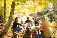 Business People Eating And Meeting At Table In Sunny Autumn Park