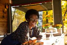 Portrait Happy Friendly Female Food Cart Owner