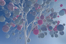 Digitally Generated Image Pastel Balls Growing On White Tree