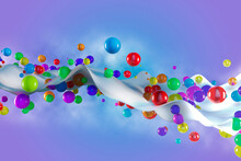 Digitally Generated Image Multicolor Balls On Wave