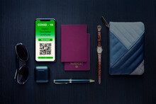 Still Life Covid Passport, Wristwatch, Wallet And Sunglasses