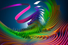 Digitally Generated Image Multicolor Wavy Ribbon Pattern