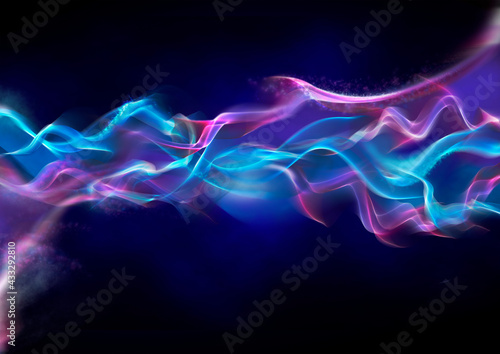 Abstract purple and blue wave pattern on black background