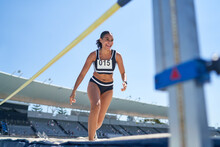 Female Track And Field Athlete High Jumping