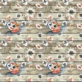 Fototapeta Dinusie - Alice in Wonderland cute watercolor seamless pattern on seamless wooden background