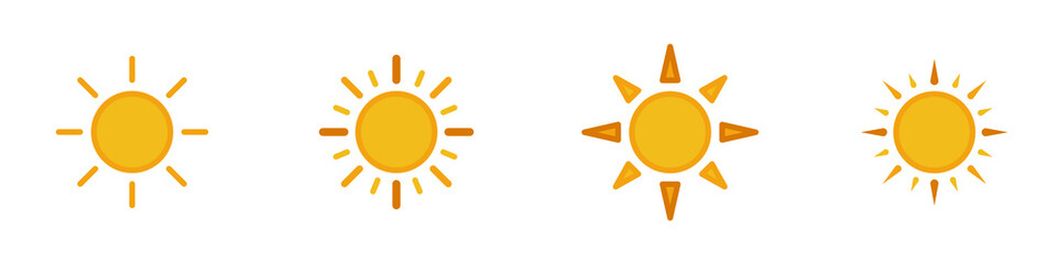 Conjunto de iconos de sol amarillo estilo silueta amarillo. Sol, astro, luz. Concepto de amanecer. Ilustración vectorial