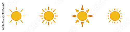 Conjunto de iconos de sol amarillo estilo silueta amarillo. Sol, astro, luz. Concepto de amanecer. Ilustración vectorial - fototapety na wymiar