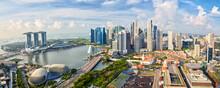 Singapore City Skyline Panorama, Financial District And Marina Bay