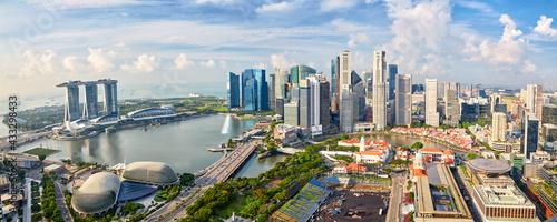 Singapore city skyline panorama, financial district and Marina Bay - fototapety na wymiar