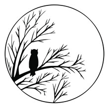 Vector Black And White Illustration. Round Frame Magical, Fairy Forest. Silhouette Of Forest, Trees, Grass And An Owl On A Branch. Background For Postcard, Book, Design For Halloween. Owl Vector