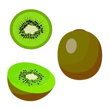 Kiwi, Whole Round Green Kiwi, Half And A Slice Of Kiwi. Vector Isolated On A White Background