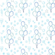 Seamless Pattern With Balloons. Blue Wallpaper. Childrens Background. Print For Fabric, Wrapping Paper Design. Kids Drawing. Star, Firecrackers, Garland. Vector Eps 10
