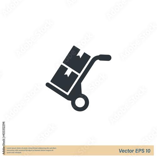 Fototapeta handcart cargo Icon Vector illustration simple design element