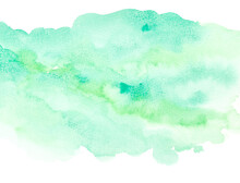 Green Watercolor On White Background. Abstract Design Element