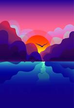 Beautiful Sunset Or Sunrise, Mountains, River And Flying Bird, Flat Landscape, Season, Summer, Vector Illustration, Texture
