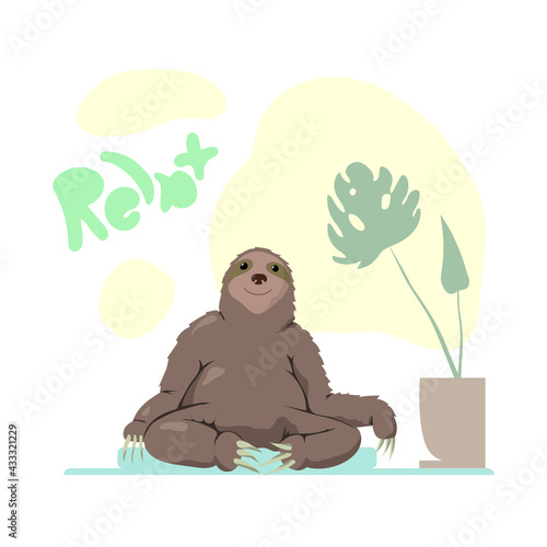 Naklejka premium a playful image of a sloth resting on a mat near a pot with a plant with the inscription relax