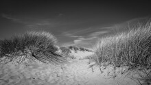 A Black And White Scenic View Of Ainsdale Sands, Southport, Merseyside, Greater Manchester
