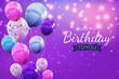 Leinwandbild Motiv Color Glossy Happy Birthday Balloons Background Illustration