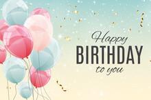 Color Glossy Happy Birthday Balloons Illustration